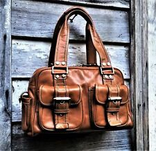 MICHAEL KORS Handbag Cognac Natural Brown Leather Saddle Bag British Tan VINTAGE