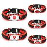 Diabetic Medical Alert Bracelet Type1 Type2 Survival Paracord Badge Gift