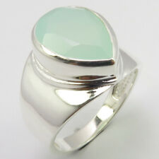 # 9 Free Shipping Ladies Engagament Solid Sterling Silver Aqua Chalcedony Ring