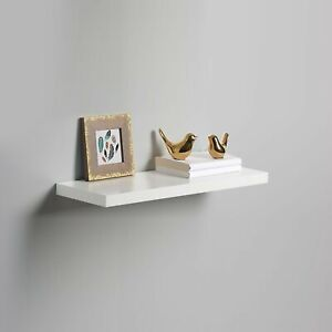 High Gloss 60cm PVC Wall Floating White Display Shelf Wall Mounted Damage Box