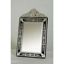 Vintage Venetian Style Clear Black Etched Glass Decorative Table or Wall Mirror