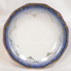 Flow Blue Butter Pat 12 Sided Gold Flower Garland Decal Antique #2