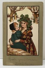 Ethel Parkinson Artist Signed Holiday Xmas Girls Wall Ivy Early Postcard C22