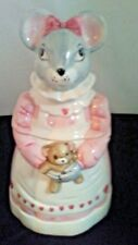 1990 House of LLoyd Mouse with Teddy Bear and Hearts Cookie Jar