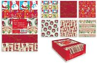 12 SHEETS CHRISTMAS GIFT WRAP WRAPPING PAPER 6 ASSORTED DESIGNS FLAT WRAP