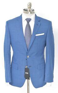 $595 NWT HUGO BOSS Blue Basket Weave Wool Slim Fit Sport Coat 38 S (EU 48)