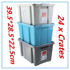 24 X Stackable Crate Medium Plastic Storage Tub Container Bin Grey Blue