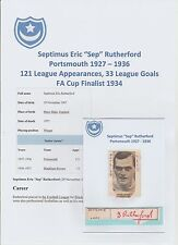 SEP RUTHERFORD PORTSMOUTH 1927-1936 VERY RARE ORIGINAL HAND SIGNED CUTTING/CARD
