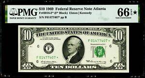 $10 1969 Federal Reserve * Note Atlanta Fr#2018-F* PMG 66 EPQ* Gem Uncirculated