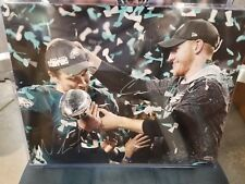 Nick Foles and Carson Wentz Philadelphia Eagles SuperBowl signed 11x14 photo COA