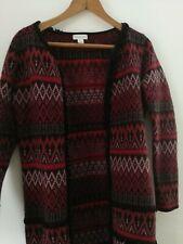 Monsoon 8 10 open front long black orange cardigan. Wool Mix. VGC