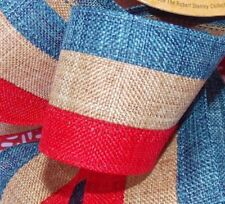 """Lot-2 YDS 1.5""""Wire edge Patriotic Red,Tan(not white),Blue,Stripes.Linen Ribbon"""