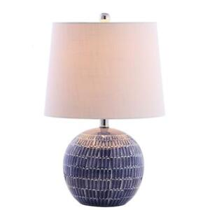 Round Table Lamp Ceramic 1-Light A19 LED Incandescent Drum Shape Plug-In Navy