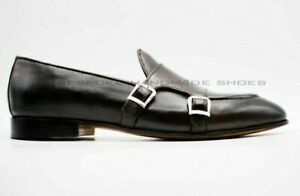 Loafers and Moccasins Double Monk Genuine Leather Brown Handmade Mens