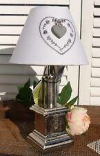 Tischleuchte Metall HERZ Lampe E27 Grau Stoffschirm Weiß Landhaus Shabby Chic