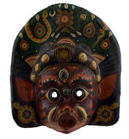 Grande Maschera Antico Nepalese Bahari Per Cerimonia Carta Mache Tibet 45cm 3130