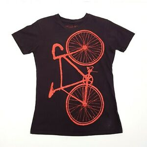 HELLO AGAIN Womens Short Sleeve T-Shirt XS Brown Orange Bicycle Cycling Cotton