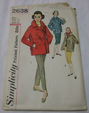 Vintage Simplicity 1950's Pattern 2638 Misses' Car Coats Single Double Breasted