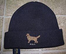 Men's POLO-RALPH LAUREN Navy Knit  RETRIEVER Cuffed Skull/ Beanie Hat