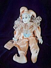 """Vintage Bradley Musicals Clown Doll Jester Cream w/ Bells 13"""""""