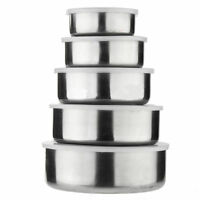 Stainless Steel Food Storage Container Set - 5 Pcs Of Mixing Bowls Cookware Set