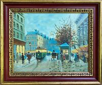 Paris Street Scene by Claude Dumont LISTED oil/cv 16 X 20 Kaufman's Dept Store
