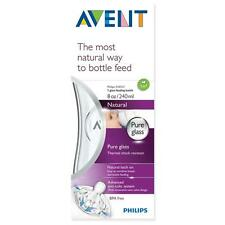 Avent - Natural Glass Bottle - 240ml / 8oz - 1m+ Teat - Brand New