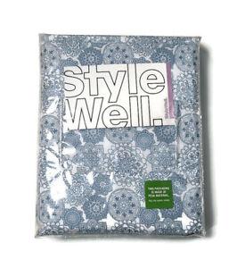 StyleWell Twin Sheet Set Brushed Microfiber 3-Piece Mandala Print Blue & White