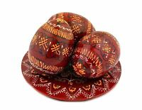 3 Dark Red Ukrainian Wooden Easter Eggs Pysanky on Hand Painted Plate 2 5/8 Inch