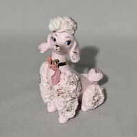 Vintage Pink Spaghetti Poodle Gold Accents - Retro Dog 1950's Style