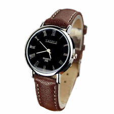 Ladies Fashion Silver Case Blue Ray Dial Quartz Brown Leather Band Wrist Watch.