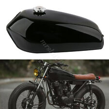 Glossy Black Motorcycle Cafe Racer Vintage 9L Fuel Tank & Tap For Honda CG125