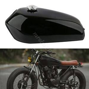 Glossy Black Motorcycle Vintage 9L Fuel Tank & Tap For Honda CG125 Cafe Racer