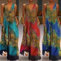 ZANZEA 8-24 Women V Neck Peacock Print Long Maxi Sundress Cocktail Party Dress