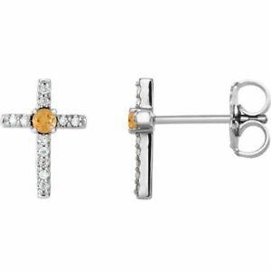 Citrine & .06CT Diamond Cross Earrings In Platinum