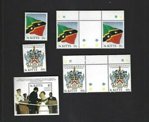 St. Kitts sc#232-3 Singles & Gutters #234 Souvenir Sheet (1988) Complete MNH