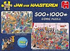 JUMBO JIGSAW PUZZLE LET'S PARTY JAN VAN HAASTEREN 500 + 1000 PCS W/POSTER #19058