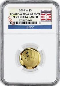 2014 W $5 Proof Gold Baseball Hall Of Fame Commemorative NGC PF70 Ultra Cameo