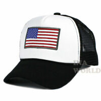 USA American Flag Hat Foam Mesh Trucker Snapback Baseball Cap- White/ Black