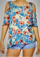 Womens Zip Back Cold Shoulder Multicoloured Top New Summer Ladies Floral Tops UK