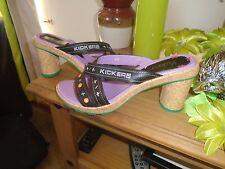 Kickers Femme Cuir Noir Compensé Mules Sandales Taille UK 7 EU 40 OH SO PRETTY