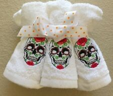 EMBROIDERED SUGAR SKULL WASHCLOTHS  SET OF 6 BATH TOWELS HALLOWEEN