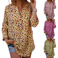 Plus Size Women Boho Floral Long Sleeve Blouse Loose Tops Ladies V Neck T Shirt
