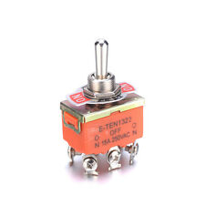 2Pcs 250V 15A 6 Pins DPDT ON-OFF-ON 3 Position Latching Miniature Toggle Switch