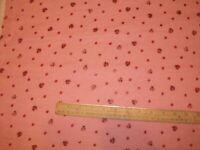 "#577 New Flannel Fabric BTY ; 2 Yds; 15"" (select size) ladybug metallic"