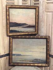 Allan Stuart 1915 Biarritz Paire de Peinture Pays Basque Marine Océan