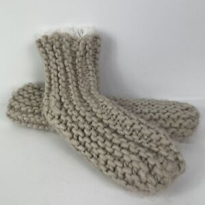 Knit Crocheted Fuzzy Sock Slippers W/ Traction Rubber Dots Approx Size 6-10
