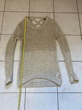 Size 10 Knitted Jumper / Long Sleeve Top Beige/gold Ladies Clothes
