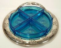 Vintage Farberware Floral Cut Tray W/Handle & 4 Electric Blue Glass Inserts