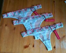 3 pairs Gorgeous flower pattern thong size M 10-12 Mint with pink flowers BNWT